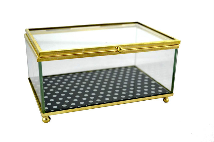 Glass with Gold Trim Trinket Box