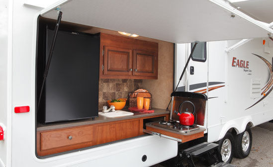 camper outside kitchen