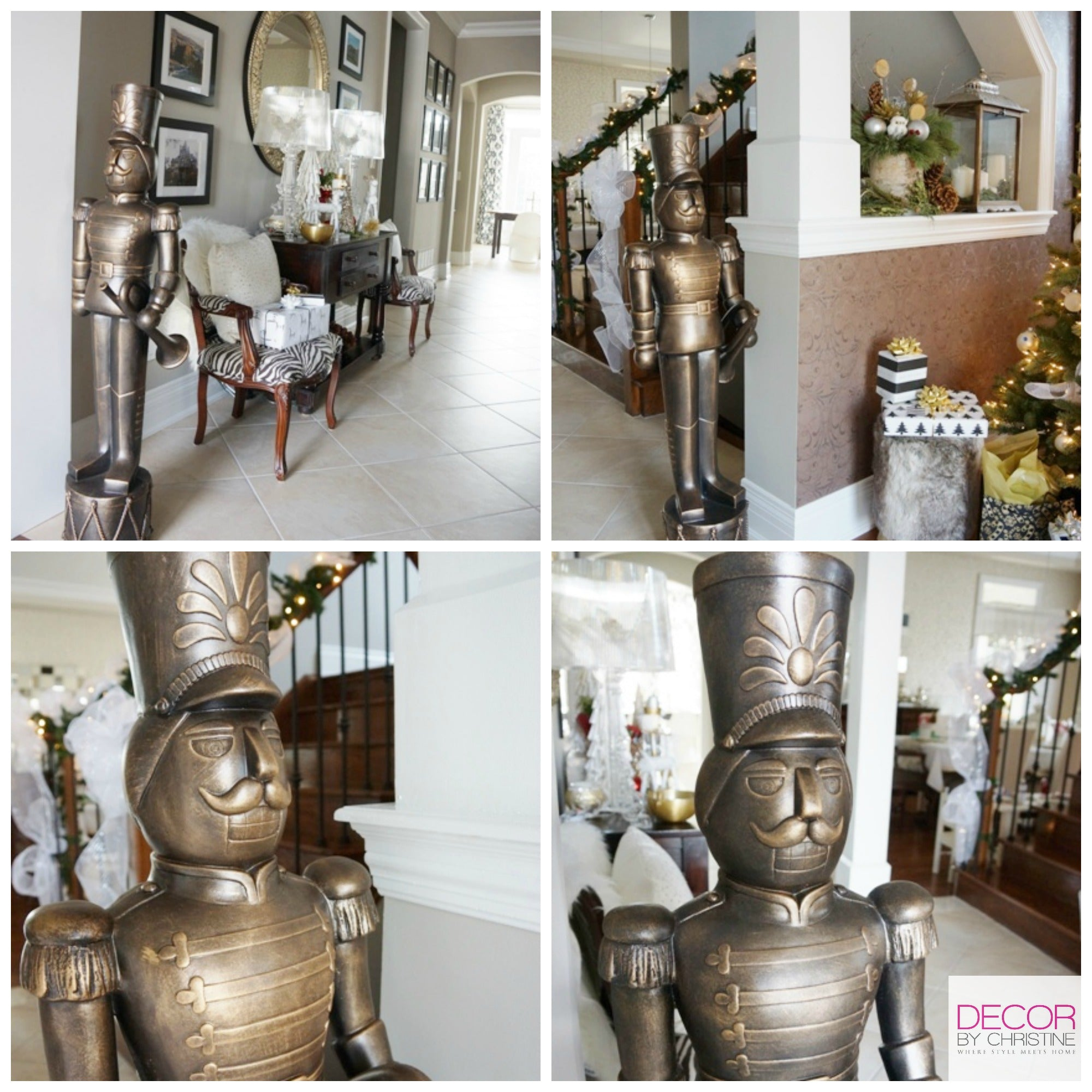 Decor by Christine LowesHolidayHomes large nutcrackers in foyer