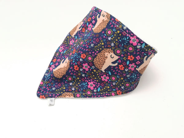 Navy Hedgehog Dribble Bib - Bamboo Lined