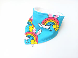 Easter Rainbow Bunny Dribble Bib - Bamboo Lined