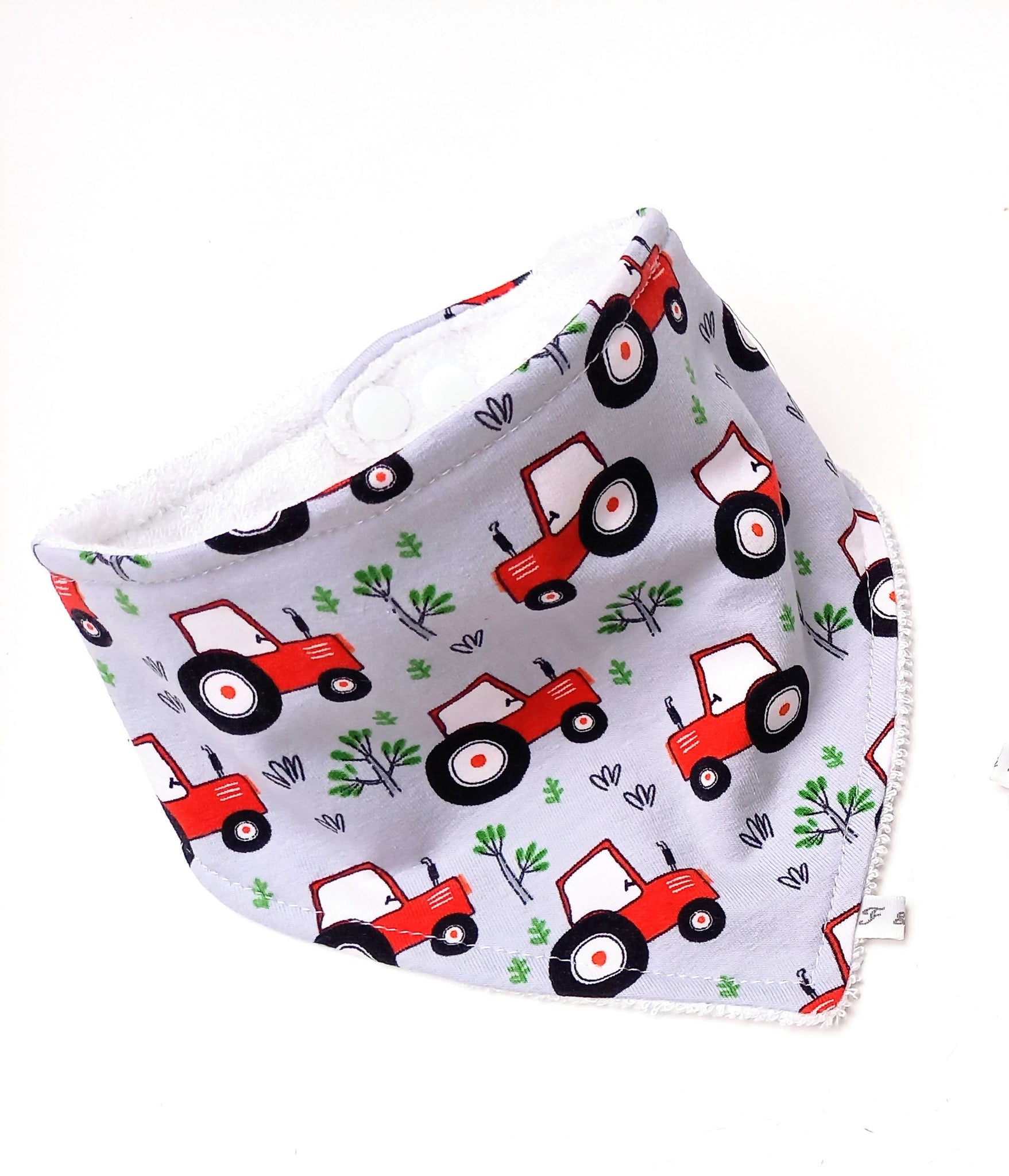 Red Tractor Dribble Bib - Bamboo Lined