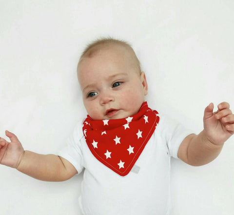 Red star print Dribble Bib - Bamboo Lined