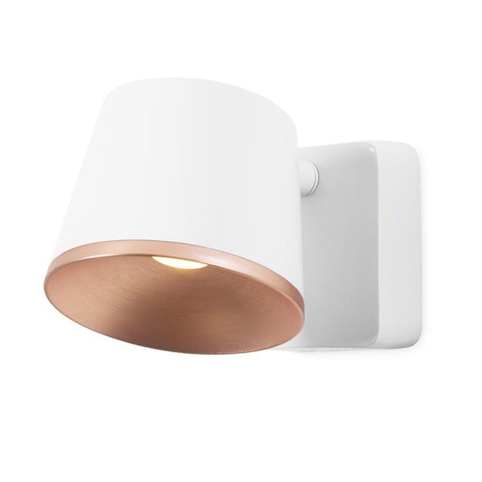 Halkin Modern LED Spotlight In White With Copper Facia - ID 8199