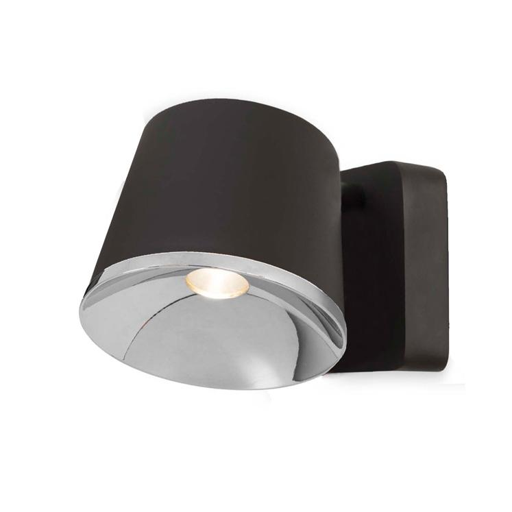 Halkin Modern LED Spotlight In Black With Silver Facia - ID 9144