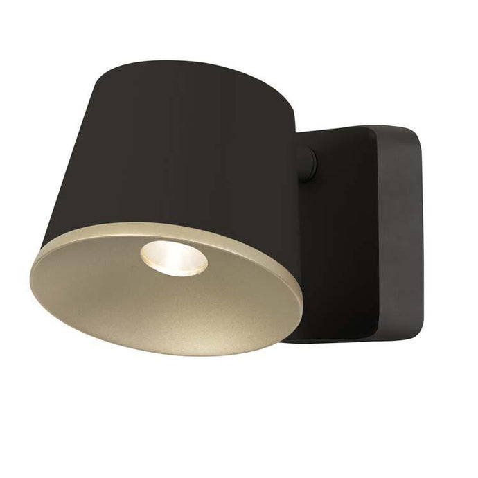 Halkin Modern LED Spotlight In Black With Gold Facia - ID 9145