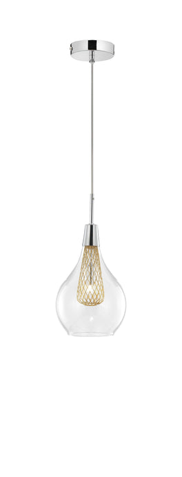 Clear Glass and Gold Mesh Single Pendant - ID 9245