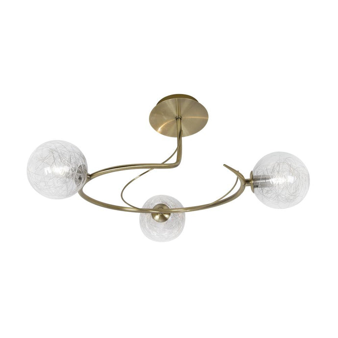 Gurney 3 Lamp Antique Brass Spiral Ceiling Light - ID 6758