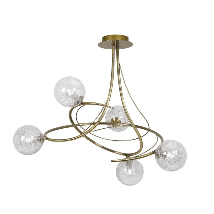 Gurney 5 Lamp Antique Brass Spiral Ceiling Light - ID 6756