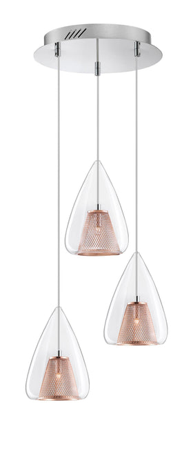 Copper Mesh and Glass 3 Lamp Multi Pendant - ID 6998