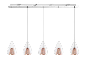 Copper Mesh and Glass 5 Lamp Linear Bar Pendant - ID 6999