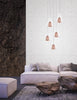Copper Mesh and Glass 5 Lamp Multi Pendant - ID 7000