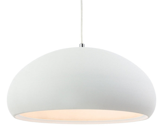 Costa Rough Sand White Single Pendant - London Lighting