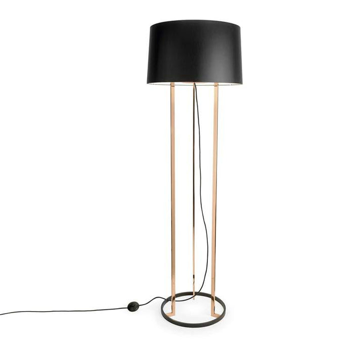 Becontree Floor Lamp With Fabric Shade & Copper Inner - ID 8131