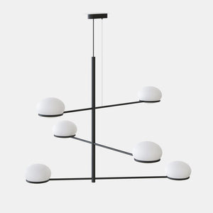 OCO Black Metal With Diffused Pebble Six Lamp Ceiling Light - ID 10726