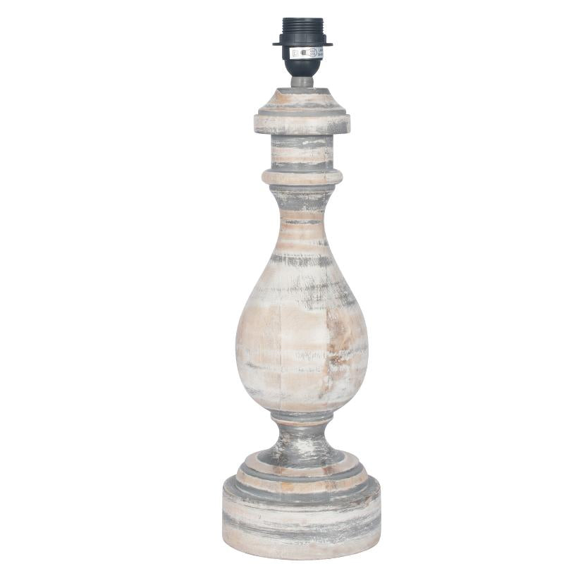 Antique Grey Turned Wood Table Lamp - ID 9840