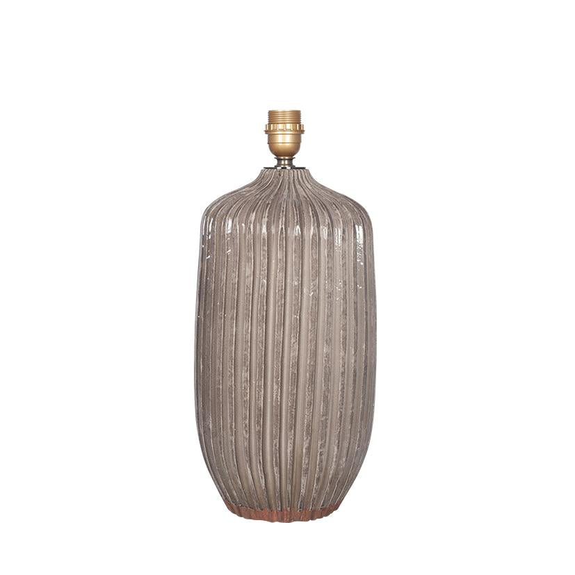 Textured Glazed Grey Stoneware Table Lamp - ID 9830