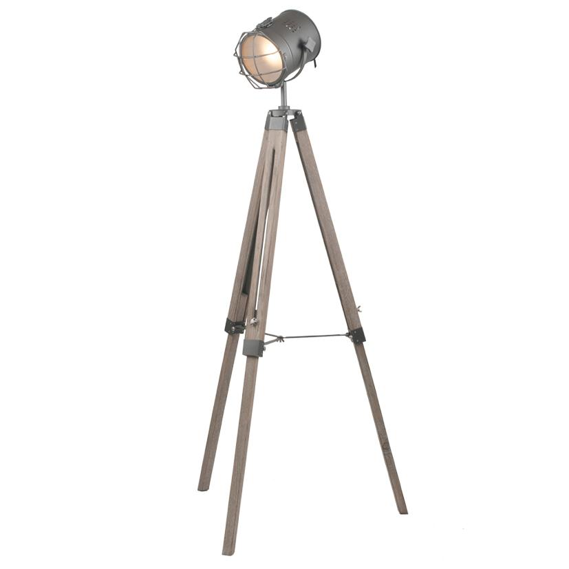 Grey Metal & Antique Wood Tripod Marine Floor Lamp - ID 9837