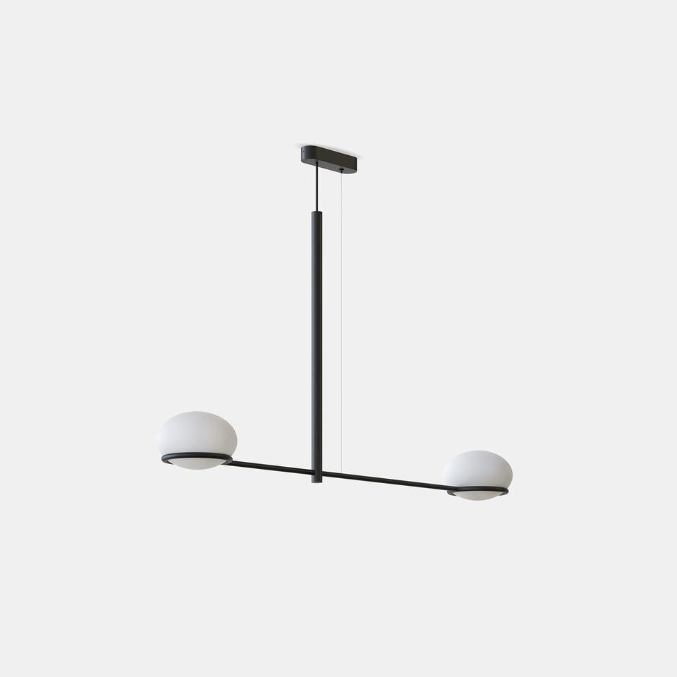 OCO Black Metal With Diffused Pebble Two Lamp Ceiling Light - ID 10724