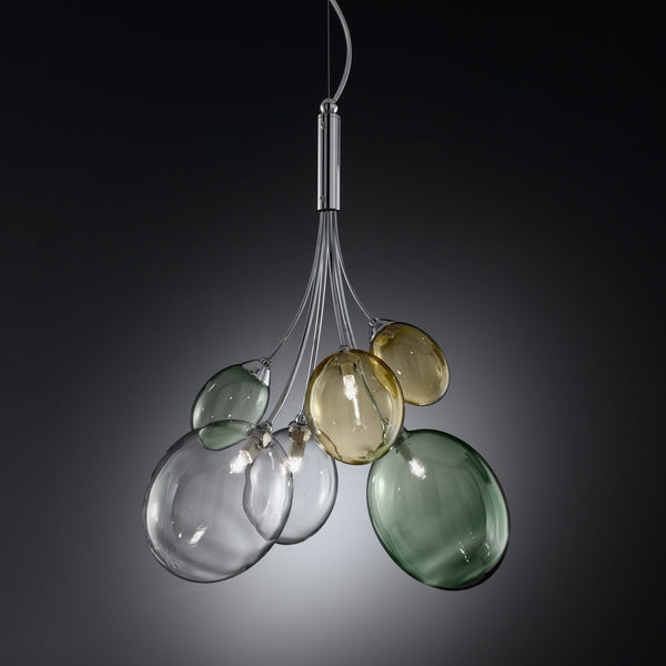 Ballon Bespoke Italian Flowing 4 Lamp Suspension with Blown Glass - Colour Options