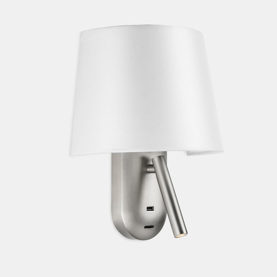 SCR Satin Nickel & White Diffuser Wall Light With USB Device Charge - ID 10749