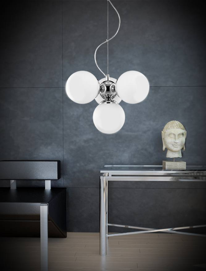 4 Lamp Chrome Ceiling Light With Opal Glass Spheres - ID 8512