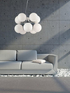 10 Lamp Chrome Ceiling Light With Opal Glass Spheres - ID 7525