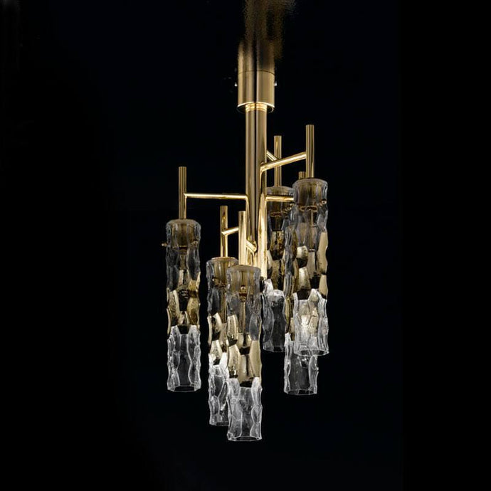 Bamboo Murano Glass 3 Light Semi Flush Chandelier