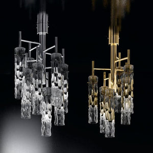 Bamboo Murano Glass 3 light Ceiling Suspension Chandelier - ID 8047
