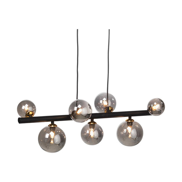 Fitzroy 7 Light Black & Gold Ceiling Light With Smoked Globes - 9442