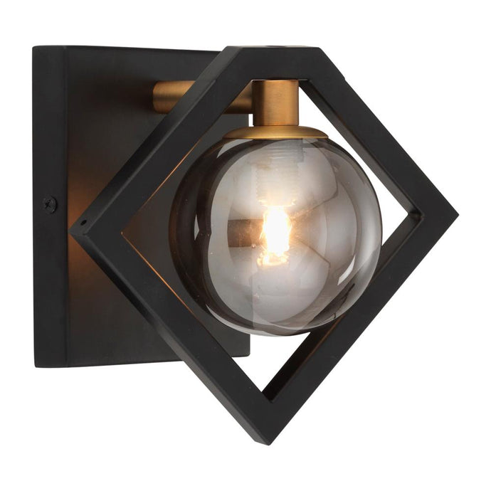 Fitzroy 1 Light Black & Gold Wall Wall Light With Smoked Globes - 6447