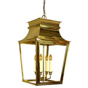 Classic Reproductions Belleville 4 Light Solid Brass Extra Large Lantern In Polished Brass Finish - ID 10342