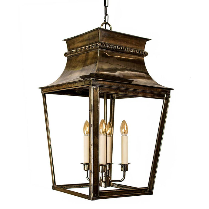Classic Reproductions Belleville 4 Light Solid Brass Extra Large Lantern In Distressed Brass Finish - ID 10344