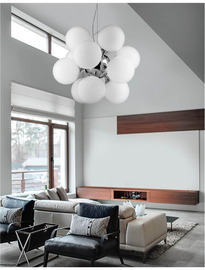 12 Lamp Chrome Ceiling Light With Opal Glass Spheres - ID 7526