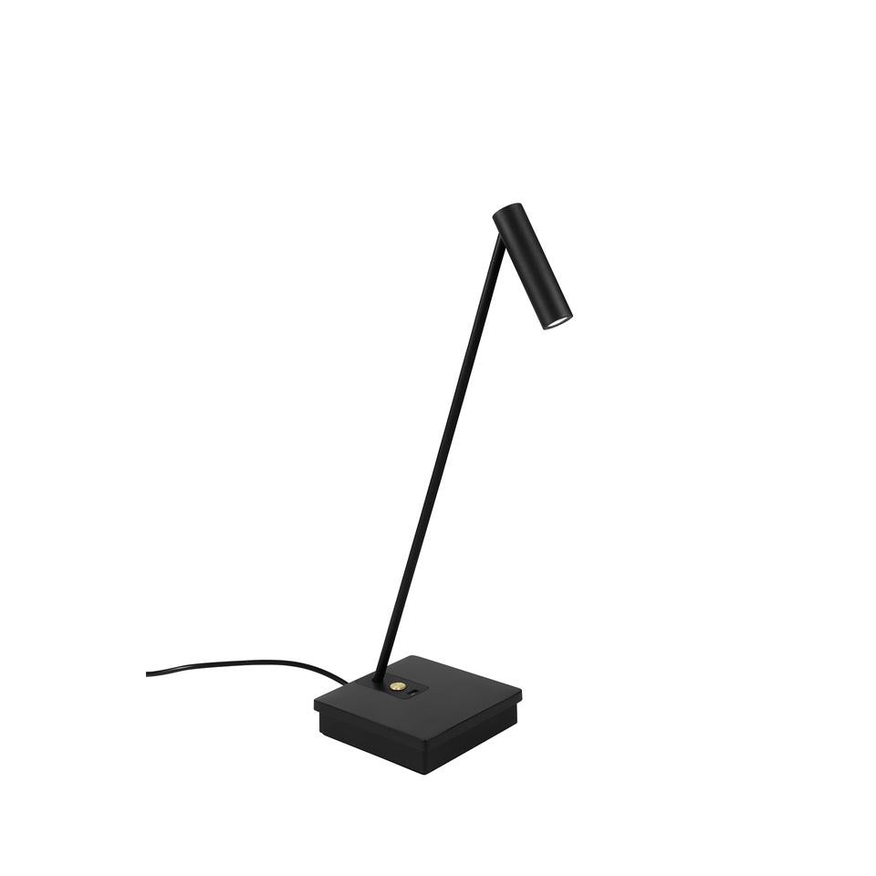 ELA Black & Brass Detail Elegant Directional Table Light With USB Device Charge - ID 10743