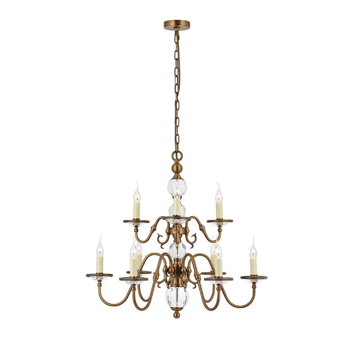 Hampton 9 Arm Chandelier In Antique Brass - ID 8733