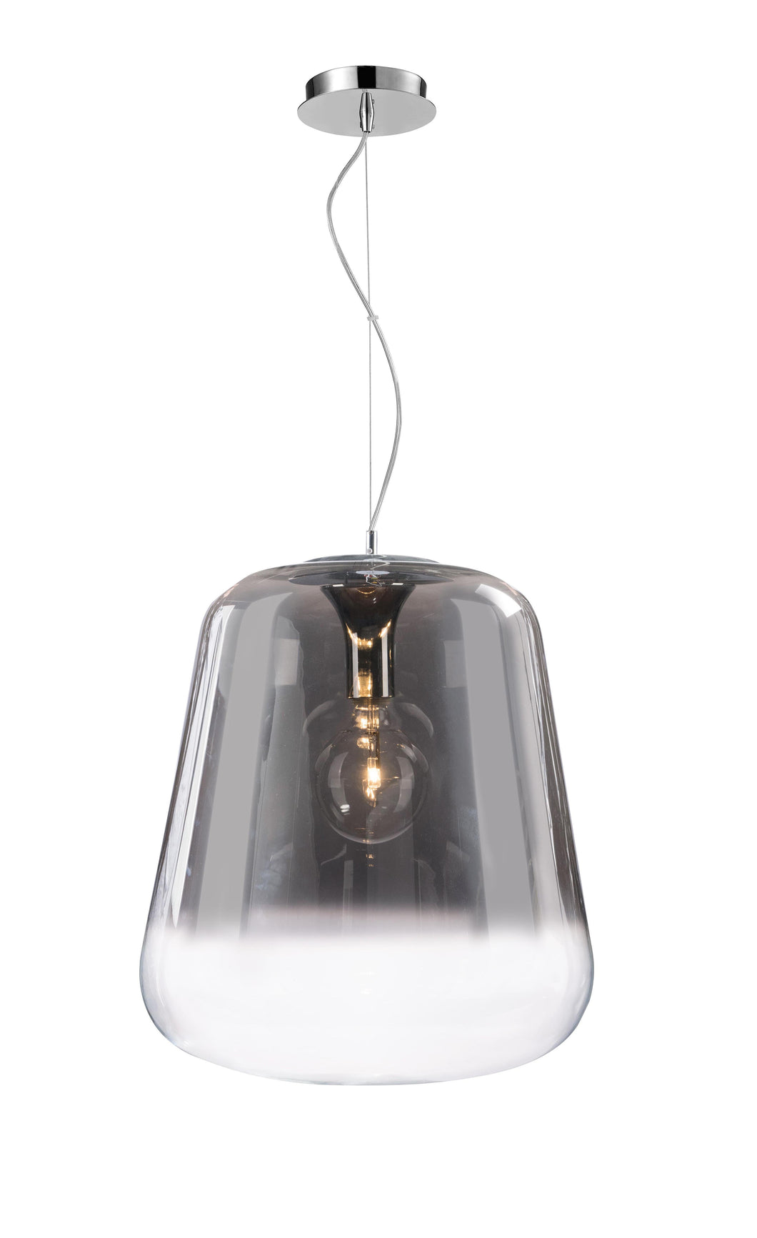 Verio Gradient Smoked Glass & Chrome Large Pendant 45cm - ID 6997
