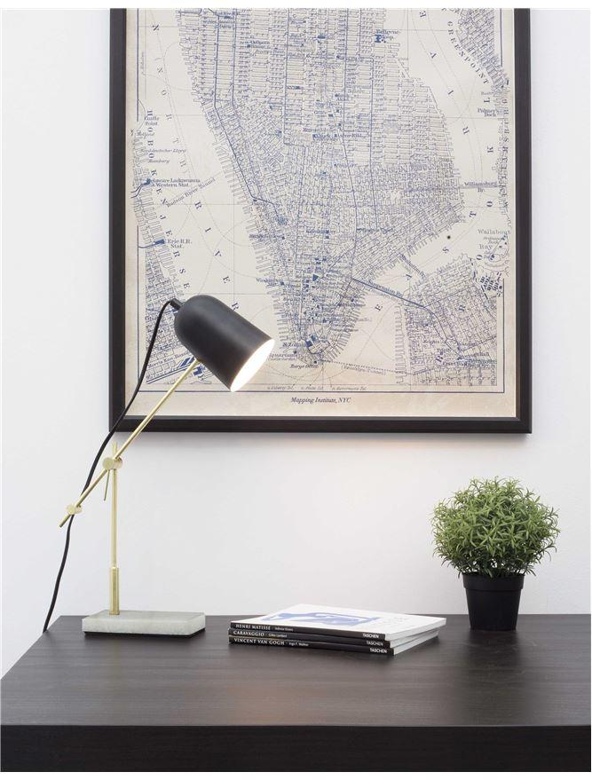 Black & Brass Desk Lamp With White Marble Base - ID 8621