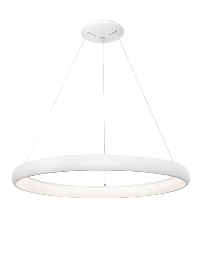 ALB Sandy White Aluminium & Acrylic Dimmable Inner Light Ring Pendant Medium - ID 9453