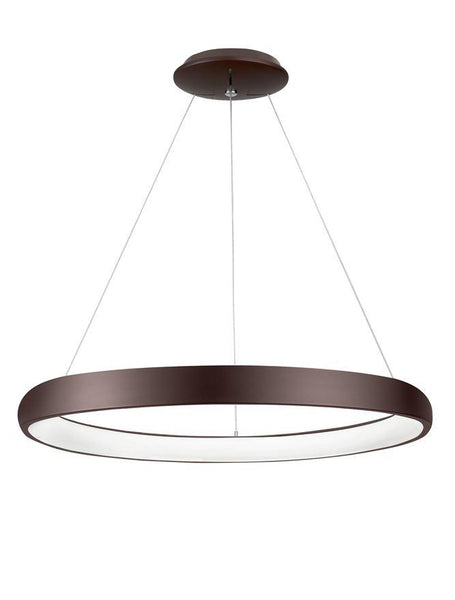 ALB Coffee Brown Aluminium & Acrylic Dimmable Inner Light Ring Pendant Large - ID 10341