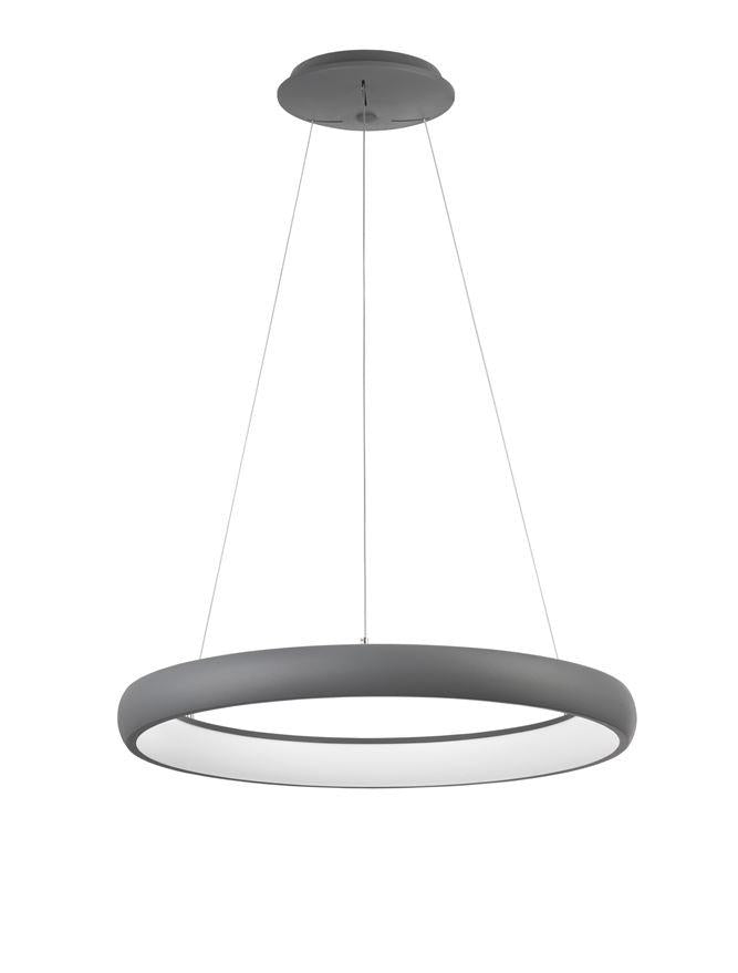 ALB Sandy Grey Aluminium & Acrylic Dimmable Inner Light Ring Pendant Medium - ID 10376