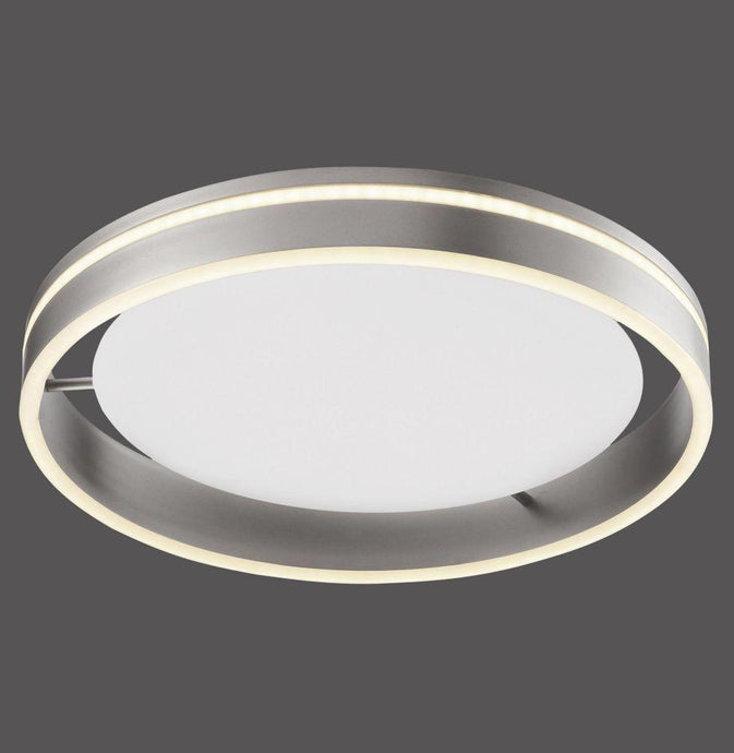 Dingwall Circular 40cm Remote Controlled LED Flush Ceiling Light In Brushed Steel Finish - ID 9477