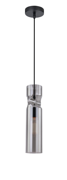 Crimp Smoked Black Glass Single Pendant - ID 6993