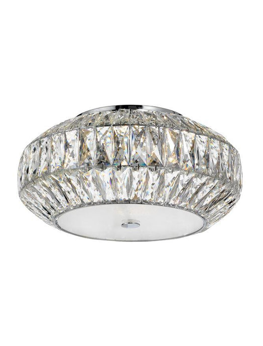 VAL Crystal & White Glass 6 Lamp Flush Ceiling Light - ID 10568