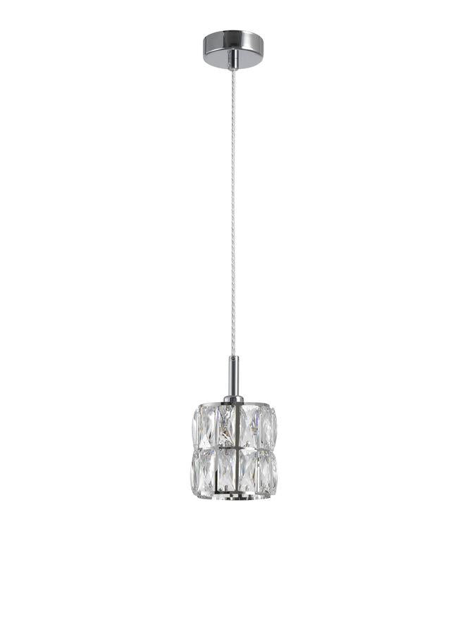 NIC Crystal & Chrome Aluminium 1 Light Single Pendant - ID 10562