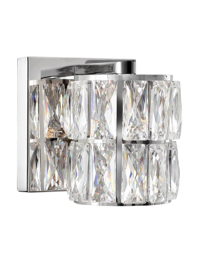NIC Crystal & Chrome Aluminium 1 Light Single Wall Light - ID 10563