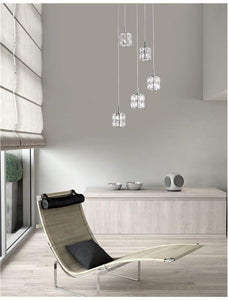 NIC Crystal & Chrome Aluminium 5 Light Multiple Drop Pendant - ID 10560