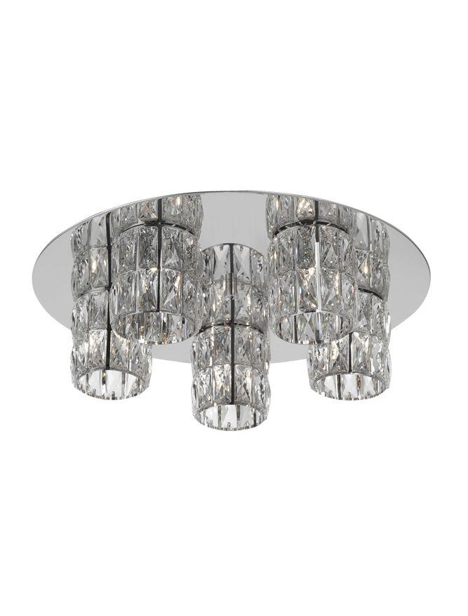 NIC Crystal & Chrome Aluminium 5 Light Flush Ceiling Light - ID 10561