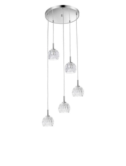 LAR Clear Glass & Chrome Aluminium 5 Light Multiple Drop Pendant - ID 10565