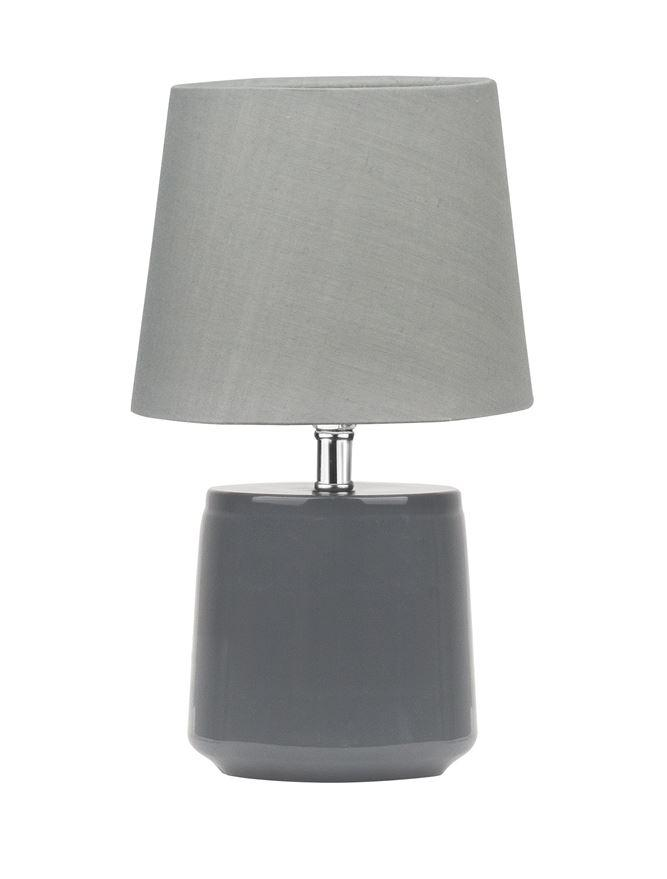 Bettyhill Mini Table Lamp In Grey With Fabric Shade - ID 8963